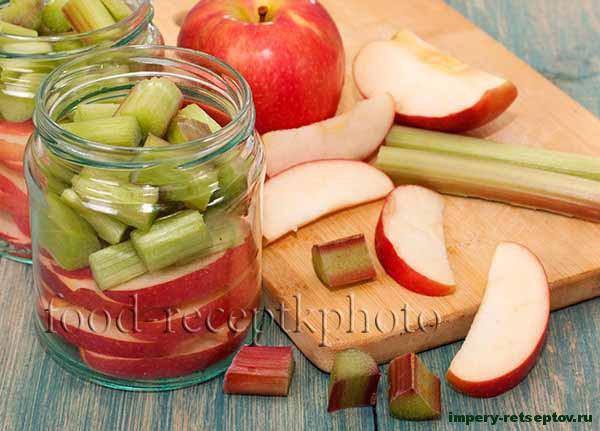 Компот из ревеня с яблоками на зиму