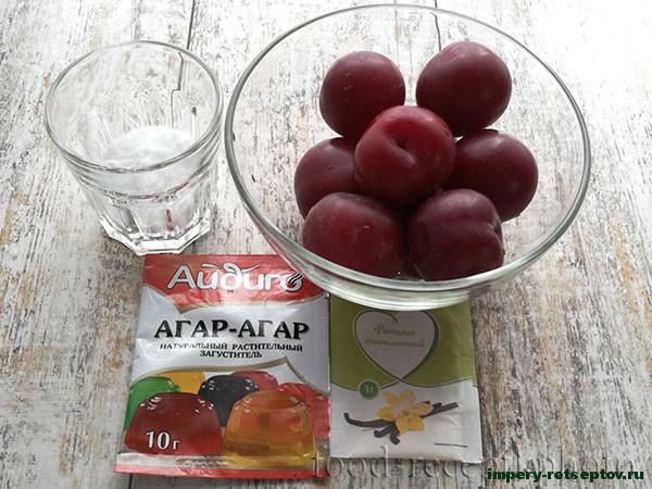 Десерт из слив с агар-агаром