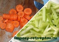 нарезать морковь и сельдерей