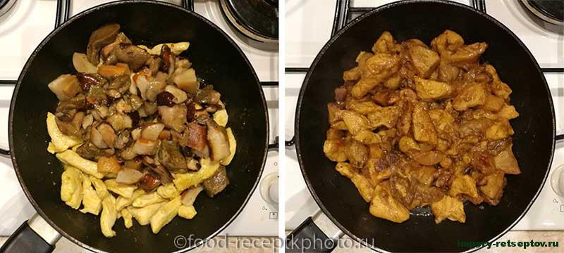 Макароны запечённые с курицей и грибами