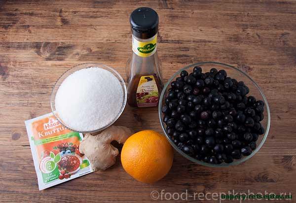 Джем из черноплодной рябины с имбирем и цедрой апельсина